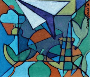 UNTITLED by Anand C Shende, Abstract Painting, Acrylic on Canvas, Blue color