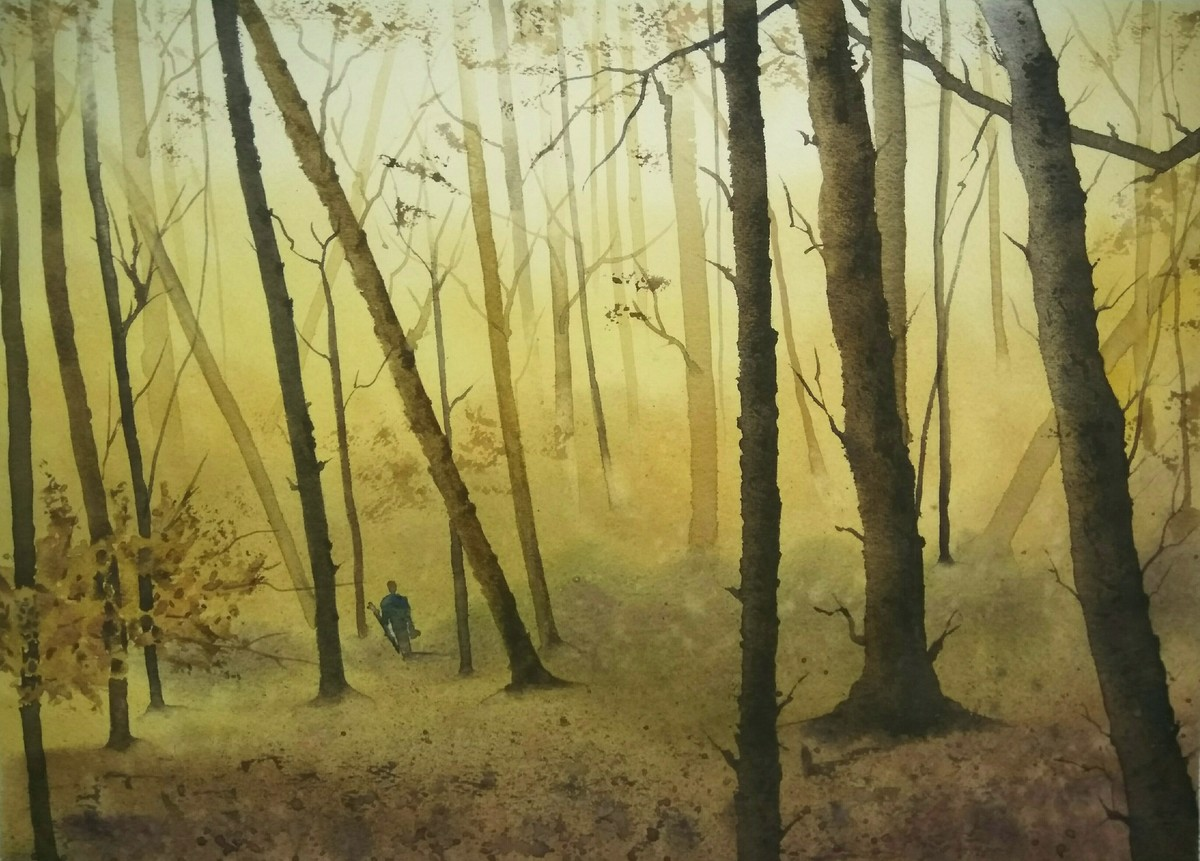 Misty Woodland by Poulami Basu, Impressionism Painting, Watercolor on Paper, Beige color