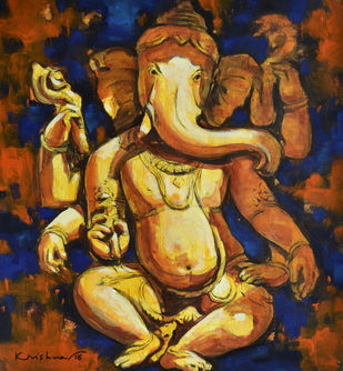 Ganesha I by Krishna Pulkundwar, Traditional Painting, Acrylic on Paper, Brown color