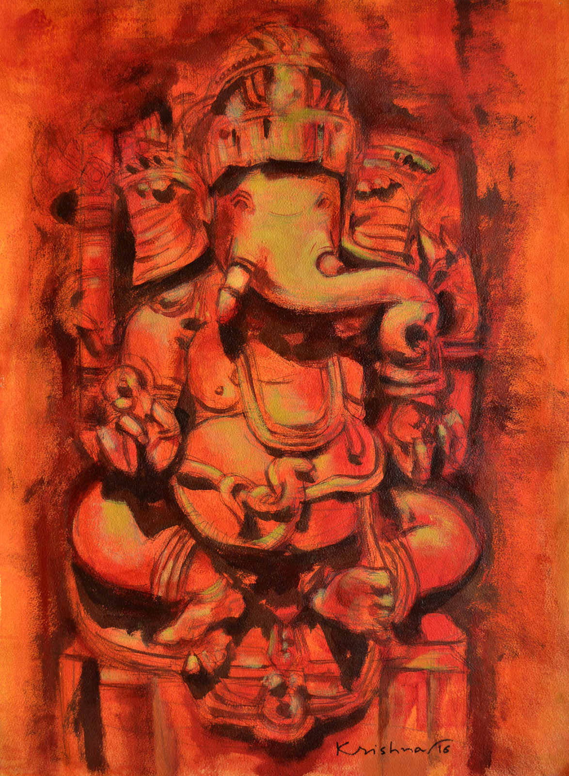 Ganesha II by Krishna Pulkundwar, Traditional Painting, Acrylic on Paper, Brown color