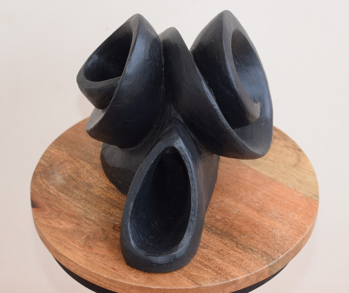 Wave of Expression by Aarti Gupta Bhadauria, Art Deco Sculpture | 3D, Terracotta, Gray color