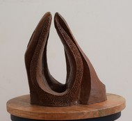 Wave of Lightning by Aarti Gupta Bhadauria, Art Deco Sculpture | 3D, Terracotta, Brown color