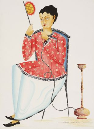 Babu with hookah and fan by Bhaskar Chitrakar, Folk Painting, Natural colours on paper, Gray color