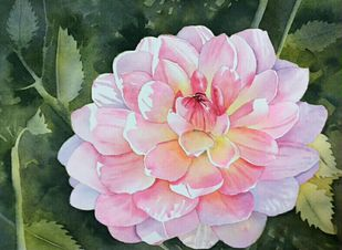 Dahlia by Poulami Basu, Impressionism Painting, Watercolor on Paper, Green color