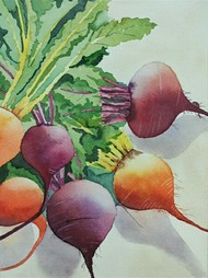 Veggies by Poulami Basu, Impressionism Painting, Watercolor on Paper, Green color