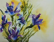 Irises by Poulami Basu, Impressionism Painting, Watercolor on Paper, Beige color