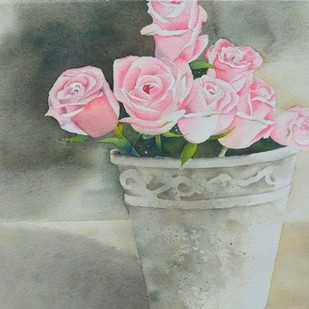 Roses by Poulami Basu, Impressionism Painting, Watercolor on Paper, Gray color