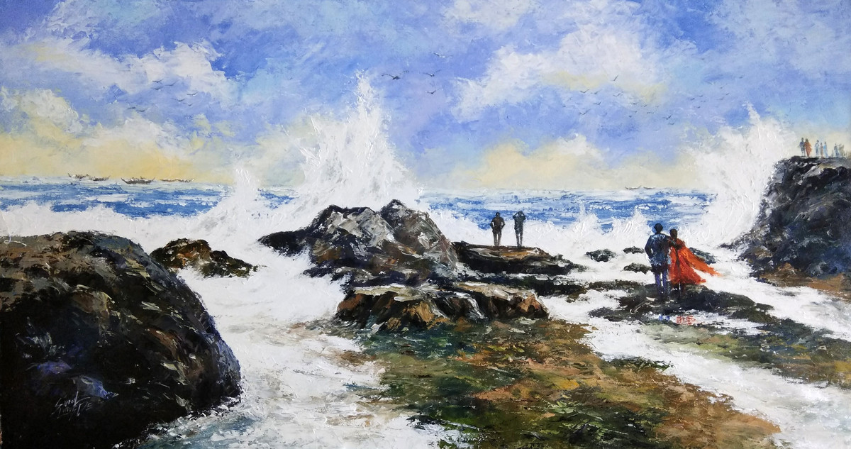 Seashore by Sunil Linus De, Expressionism Painting, Acrylic on Canvas, Gray color