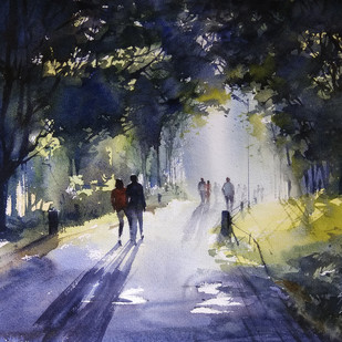 Morning Walk by Sunil Linus De, Impressionism Painting, Watercolor on Paper, Gray color