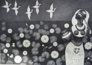 Lotuspond 1 by Bhaskar Lahiri, Illustration Drawing, Pen & Ink on Paper, Gray color