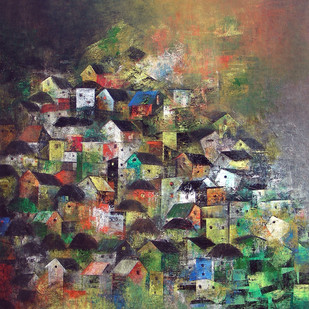 Village reflection by M Singh, Geometrical Painting, Acrylic on Canvas, Brown color