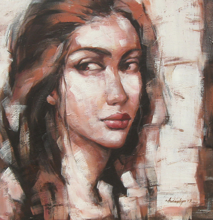expression series by Anindya Mukherjee, Expressionism Painting, Acrylic on Canvas, Brown color