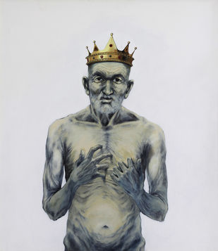 Grouch by Ritesh Warambhe, Expressionism Painting, Acrylic on Canvas, Gray color