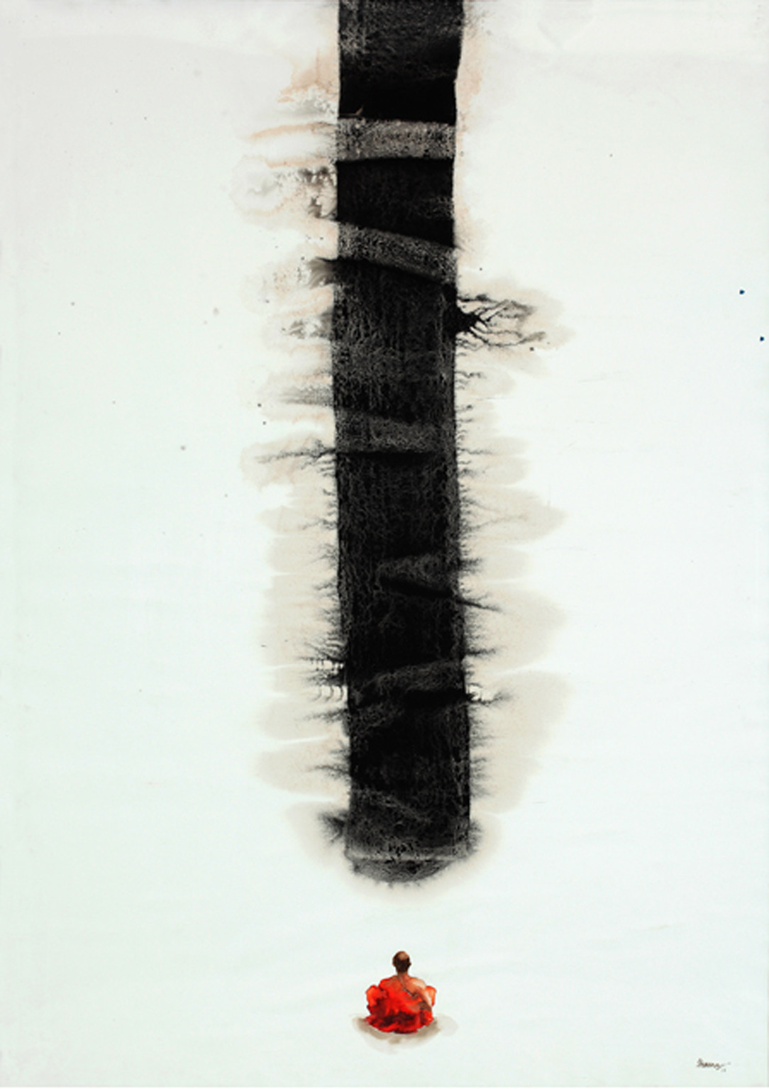 Shadow of the darshan - V by G R Iranna, Expressionism Painting, Mixed Media on Paper, Gray color