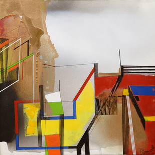 URBAN SPECTRUM by Prabhinder Lall, Geometrical Painting, Acrylic on Canvas, Brown color