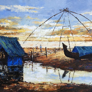 Untitled by Sunil Linus De, Impressionism Painting, Acrylic on Canvas, Cyan color