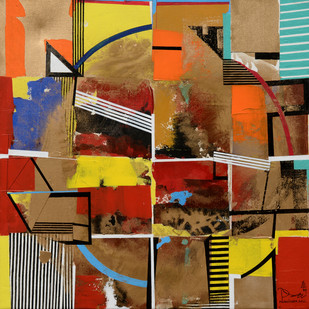 Architectural Space by Prabhinder Lall, Geometrical Painting, Acrylic & Ink on Canvas, Brown color
