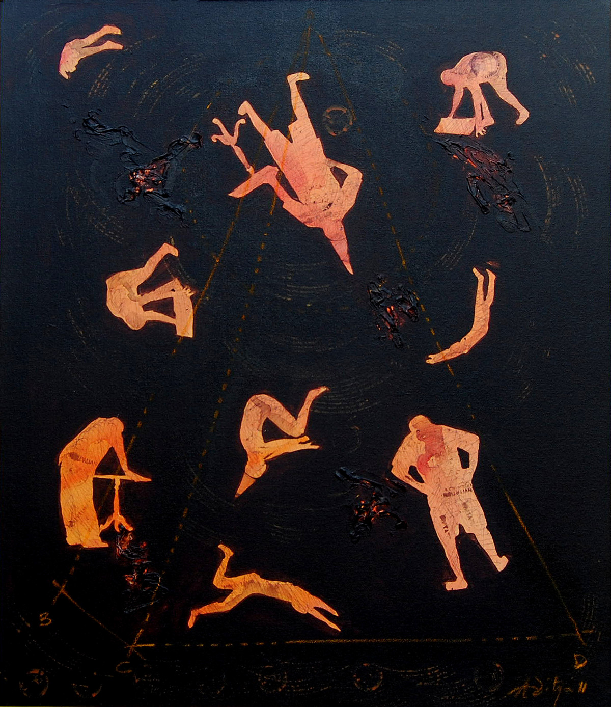 Untitled by Aditya Basak, Expressionism Painting, Acrylic on Canvas, Black color