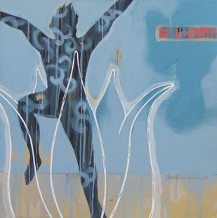 Freedom by Arun Bain, Expressionism Painting, Acrylic on Canvas, Cyan color