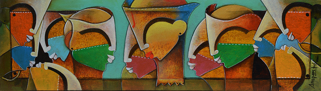 Framed Innocence by anupam pal, Decorative Painting, Acrylic on Canvas, Brown color