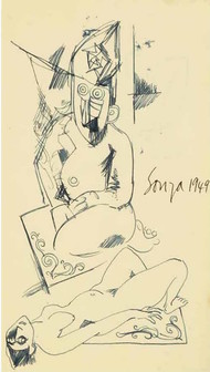 untitled by F N Souza, Expressionism Drawing, Ink on Paper, Yellow color