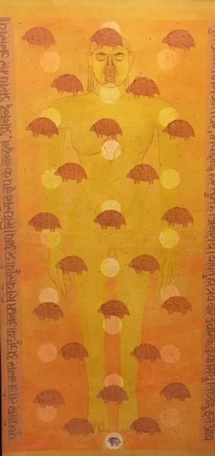 untitled by Manish Pushkale, Expressionism Painting, Acrylic on Canvas, Orange color