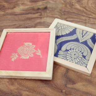 IVEI Banarasi brocade coasters set of 2 Photo Frame By i-value-every-idea