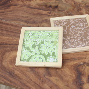 IVEI Chikankari coasters set of 2 Photo Frame By i-value-every-idea