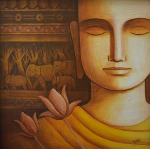 Buddha-13 by Atul Virkar, Expressionism Painting, Acrylic on Canvas, Brown color