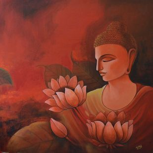 Buddha-12 by Atul Virkar, Expressionism Painting, Acrylic on Canvas, Brown color