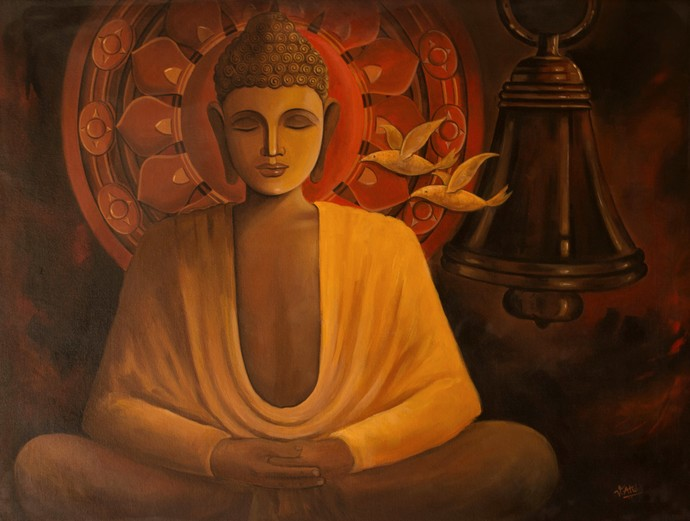 Buddha-5 by Atul Virkar, Expressionism Painting, Acrylic on Canvas, Brown color