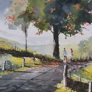 Munnar Days 10 by Mopasang Valath, Impressionism Painting, Watercolor on Paper, Gray color