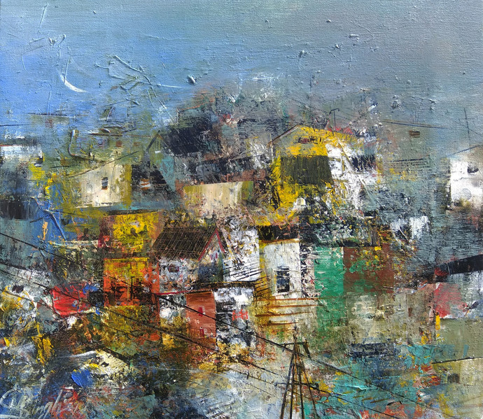 Glimpse of the village by M Singh, Geometrical Painting, Acrylic on Canvas, Green color
