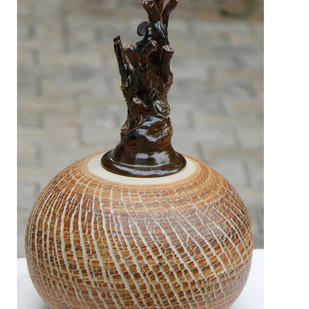 Ceramic Pot by Arun Mukhuty, Art Deco Sculpture | 3D, Ceramic, Brown color