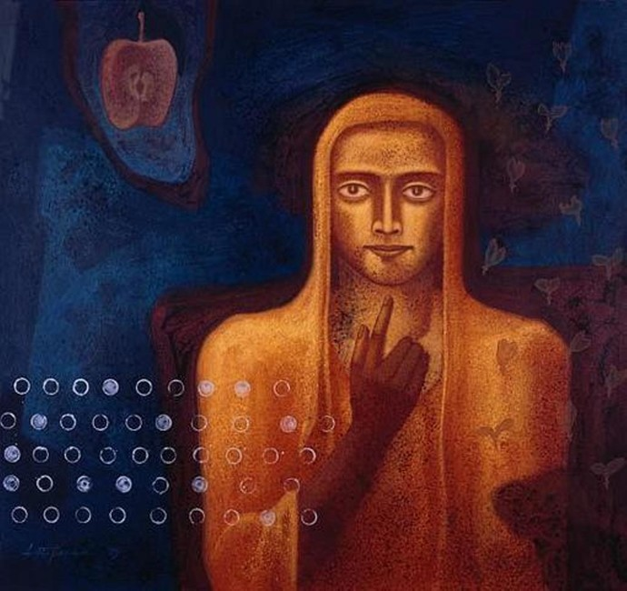 untitled by Atin Basak, Expressionism Painting, Tempera on Canvas Board, Blue color