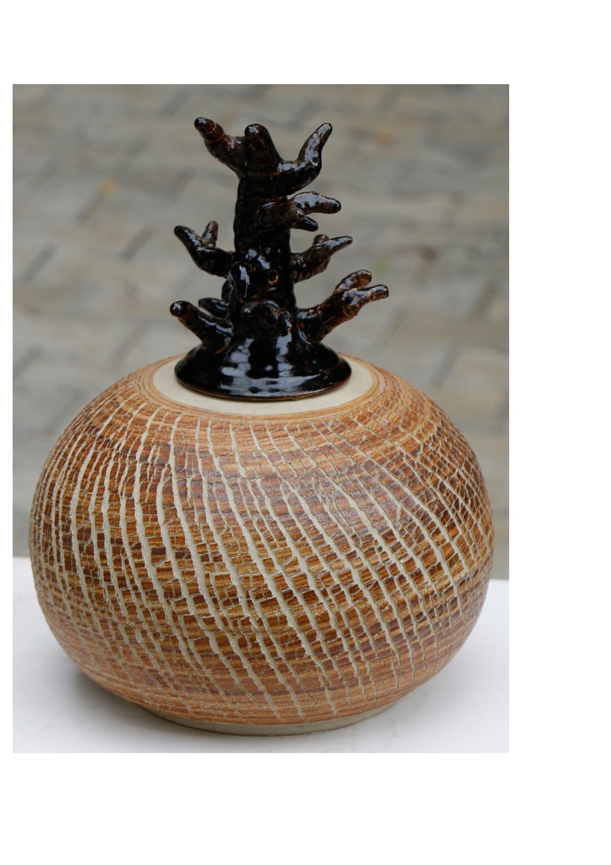 Ceramic Pot by Arun Mukhuty, Art Deco Sculpture | 3D, Ceramic, Brown color
