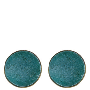 Blue Gold Tone Brass Earrings by IMLI STREET, Contemporary Earring