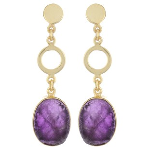 Purple Gold Tone Brass Earrings Earring By IMLI STREET