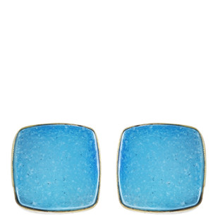Gold Tone Blue Brass Earring By IMLI STREET