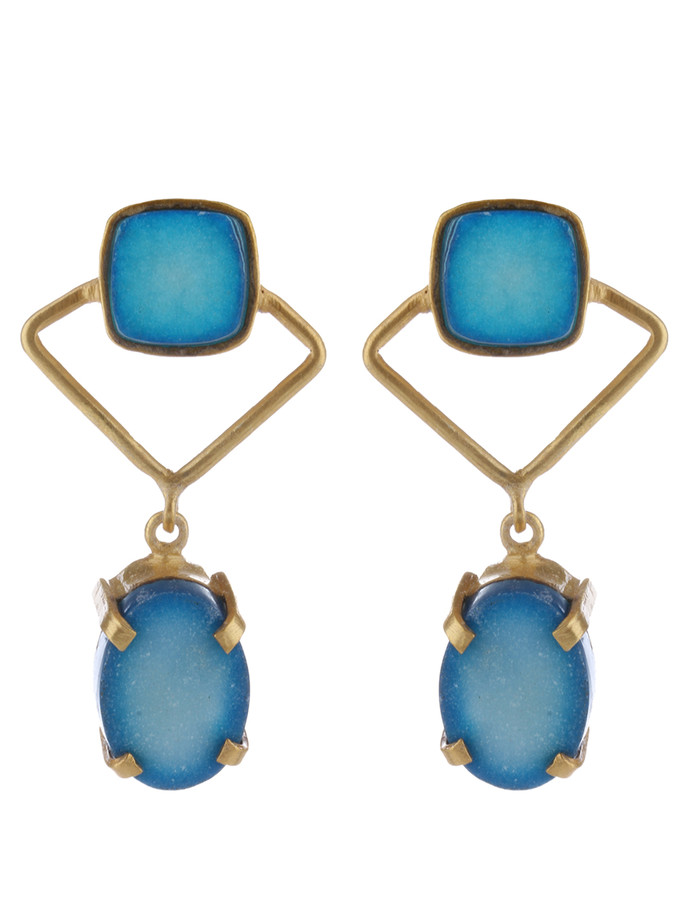 Blue Gold Tone Brass Earring Set by IMLI STREET, Contemporary Earring