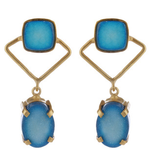 Blue Gold Tone Brass Earring Set Earring By IMLI STREET