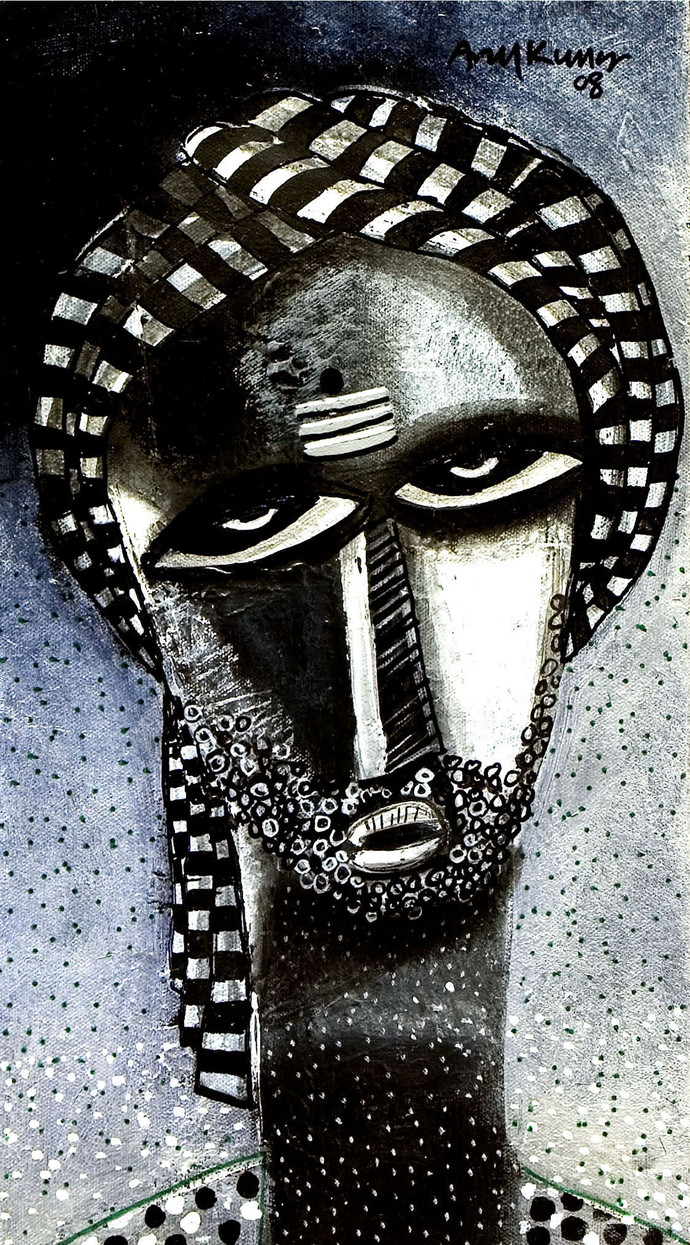 man by Arun K Mishra, Expressionism Painting, Acrylic on Canvas, Gray color