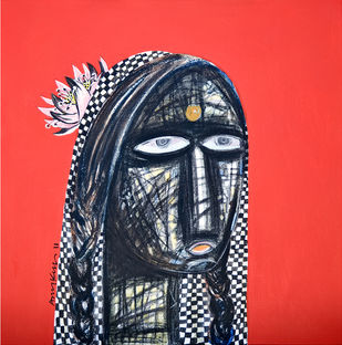 face on red by Arun K Mishra, Expressionism Painting, Acrylic & Ink on Canvas,