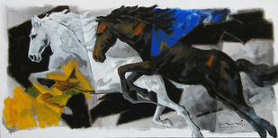 HORSE SERIES 73 by Devidas Dharmadhikari, Expressionism Painting, Acrylic on Canvas, Gray color