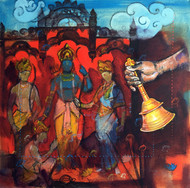 samvad(conversation)3/9 by Ramchandra Kharatmal, Expressionism Painting, Acrylic & Graphite on Canvas, Brown color