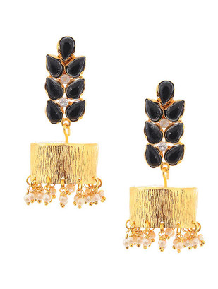Black Gold Tone Brass Jhumki Earring Set by IMLI STREET, Contemporary, Traditional Earring