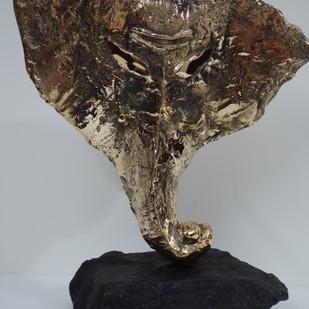 Ganesh by Usha Ramachandran, Art Deco Sculpture | 3D, Bronze, Gray color