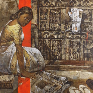 untitled by Manash Ranjan Jena, Expressionism Painting, Acrylic on Canvas, Brown color