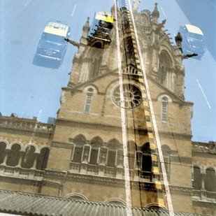 Mumbai Mirror by Raju Singh, Image Photography, Digital Print on Enhanced Matt, Cyan color