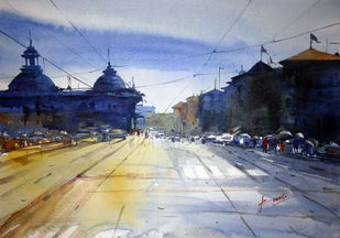 Cityscape by prasanta maiti, Impressionism Painting, Watercolor on Paper, Blue color